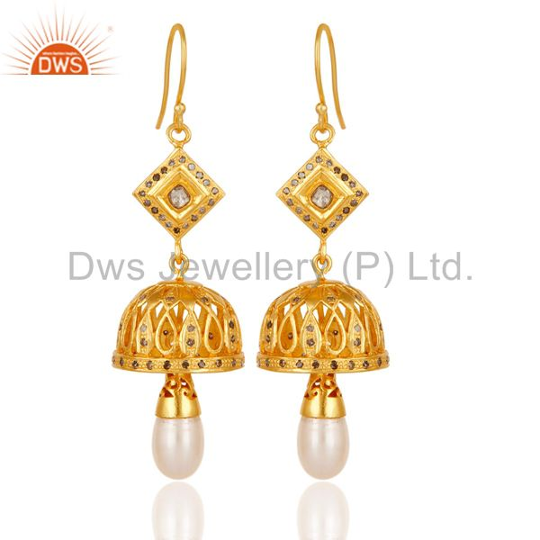 Diamond & Pearl Jhumka Earrings with 18k Gold Plated 925 Sterling Silver