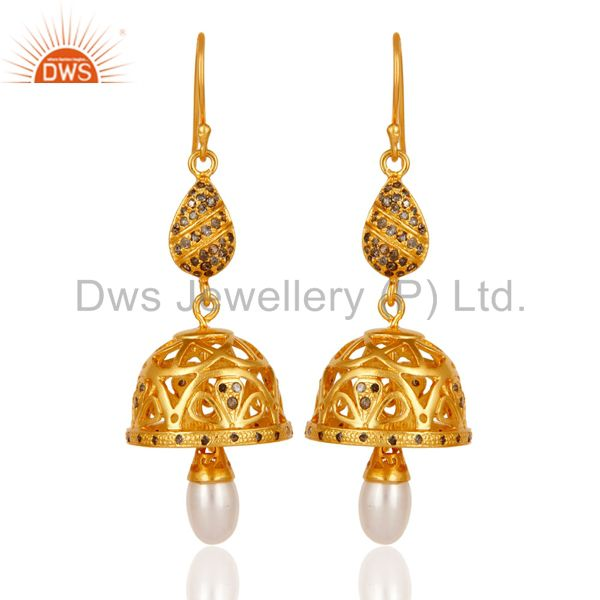 Diamond & Pearl Handmade Jhumka Earring with 18k Gold Plated 925 Sterling Silver