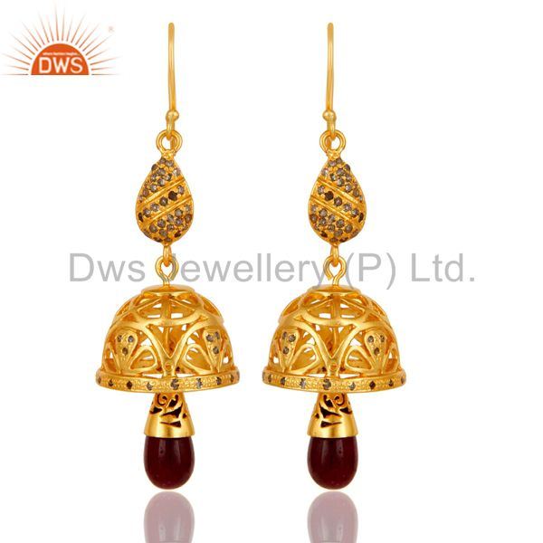 18k Gold Plated 925 Sterling Silver Handmade Diamond Cut Ruby Jhumka Earrings