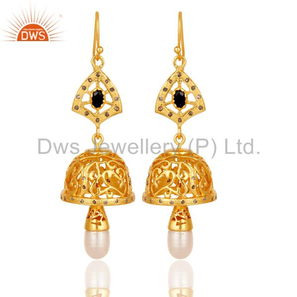 Diamond, Sapphire & Pearl Jhumka Earrings with 18k Gold Plated Sterling Silver