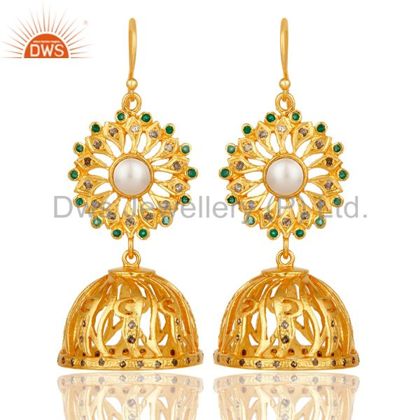 Diamond, Emerald & Pearl 18k Gold Plated Sterling Silver Jhumka Earrings