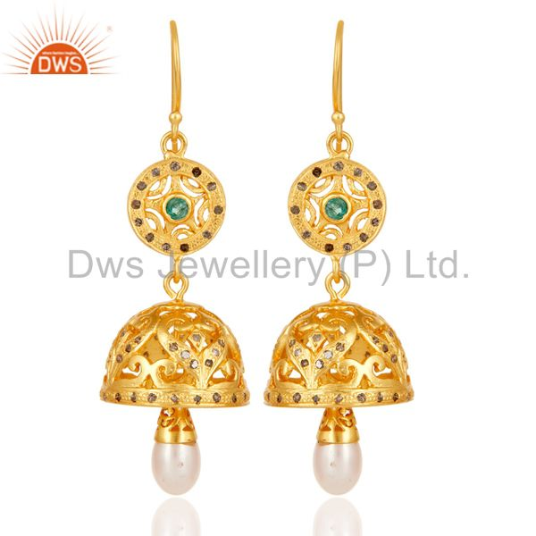 Traditional 18K Gold Plated 925 Sterling Silver Diamond & Pearl Jhumka Earrings