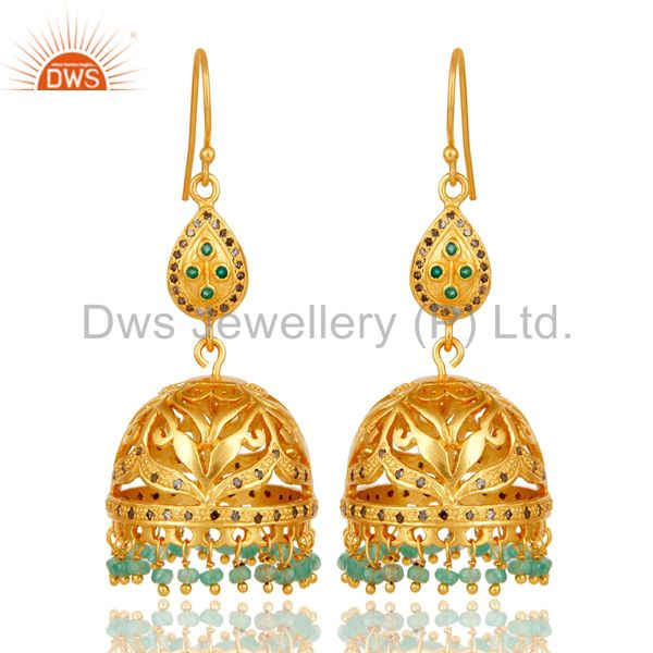 18k Gold Plated Sterling Silver Jhumka Earrings with Diamond & Emerald