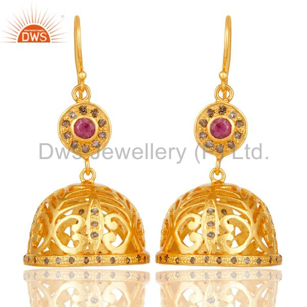 Diamond & Ruby Jhumka Earrings with 18k Yellow Gold Plated Sterling Silver