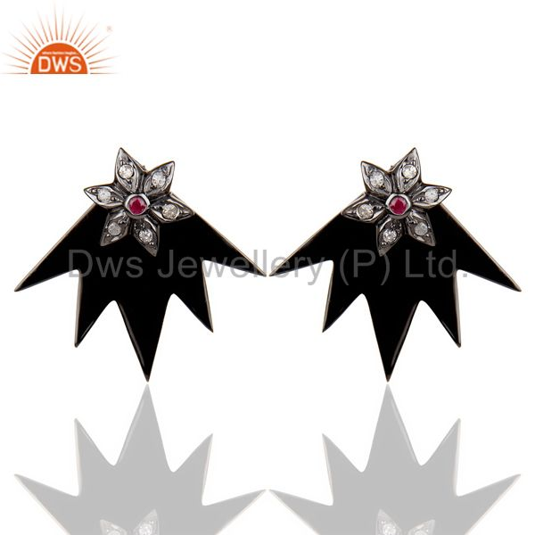 Natural Diamond Ruby Two Way Star Earring Black Rhodium Plated Silver Earring