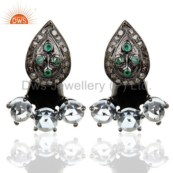 Natural Diamond And Blue Topaz Double Jacket Earring,Two Way Earring