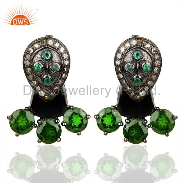 Natural Diamond And Chrome Diopside Double Jacket Earring,Two Way Earring