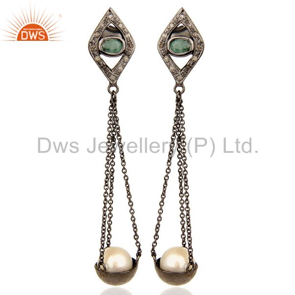 Natural diamond And Pearl Dangle Earring,Long Emerald Earring