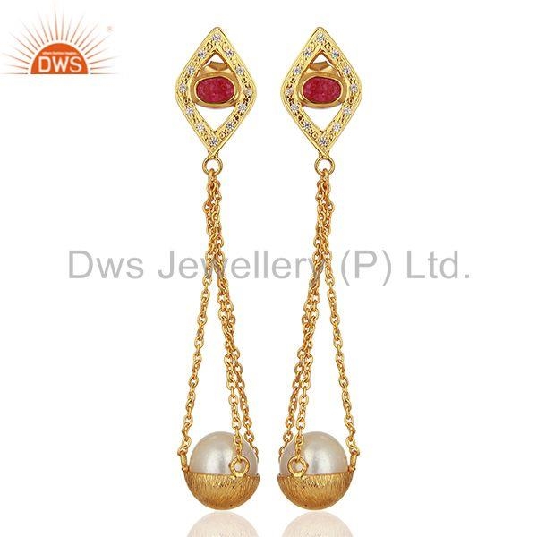 Natural Pearl Gold Plated Silver Cz Gemstone Earring Manufacturer