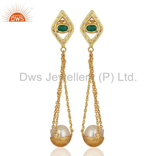 Multi Gemstone 925 Silver Gold Plated Chain Earring Wholesale Supplier