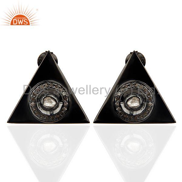 Natural Diamond 20 MM Triangle Stud Earring Black Rhodium Plated In Silver
