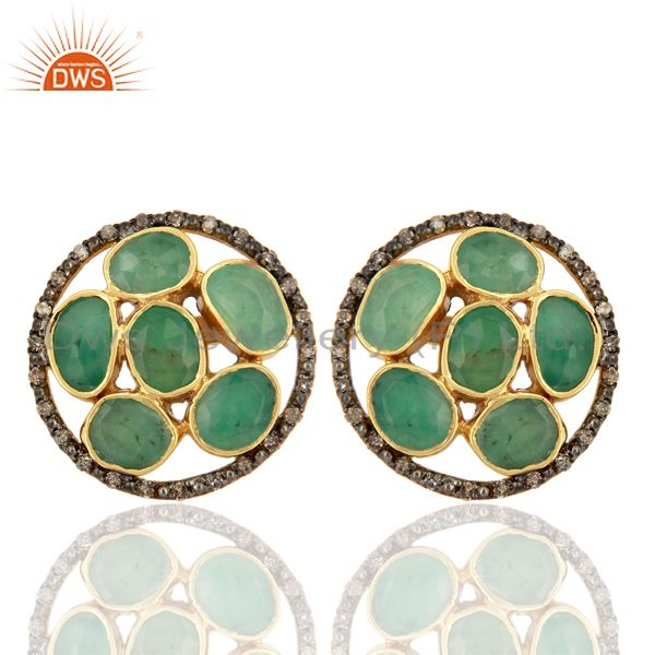 Genuine Diamond Emerald Studs Solid Gold Earrings Gemstone Jewelry