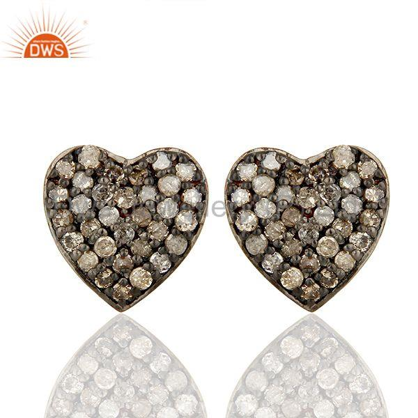 Pave Set Diamond Black and Rose Gold Plated Silver Stud Earrings