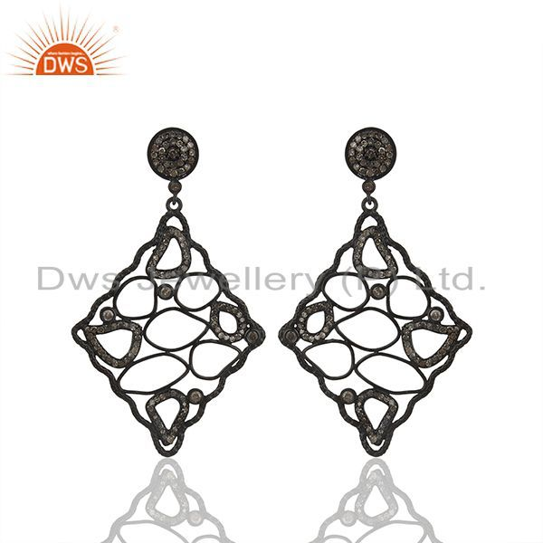 Black Rhodium Plated 925 Silver Pave Diamond Earrings Manufacturer