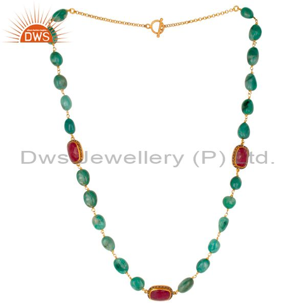 Natural top rich green emerald gemstone beads ruby diamond silver handmade necklace