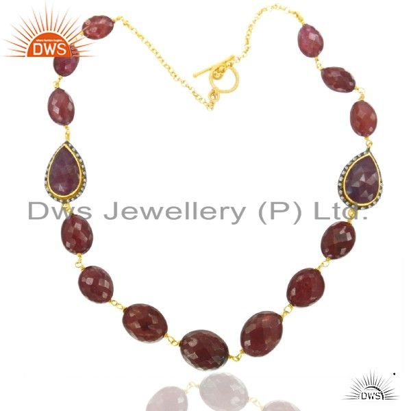 925 Sterling Silver Ruby/ Diamond Accent 18K Gold Plated Handmade Necklace Jewel