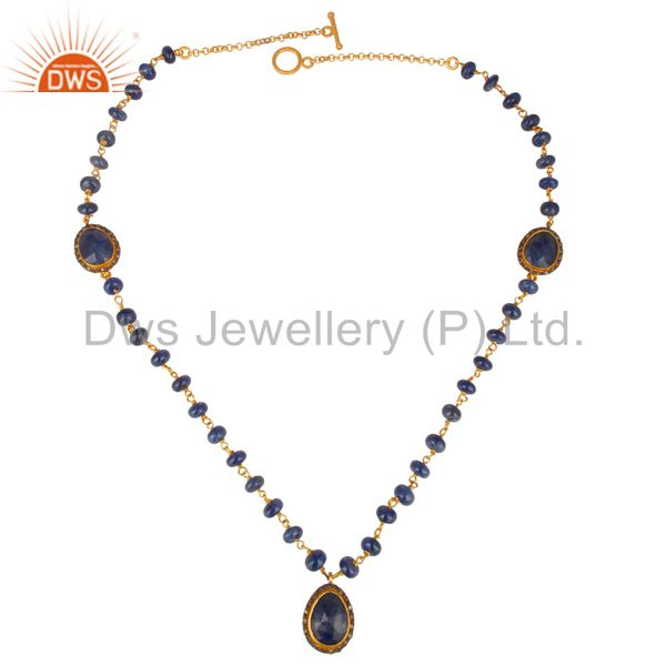 Sterling silver chain diamond pave sapphire beads necklace fashion designer jewel