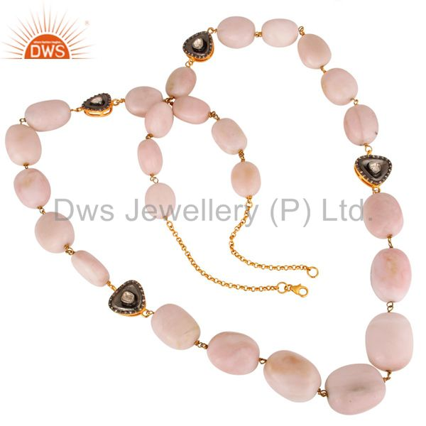 18k yellow gold on sterling silver pink opal and rose cut diamond necklace