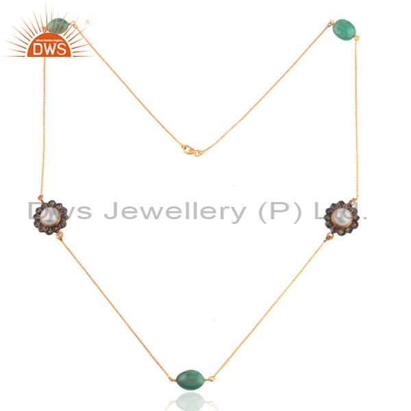 18K Gold Plated 925 Sterling Silver Natural Pearl Emerald Chain Necklace