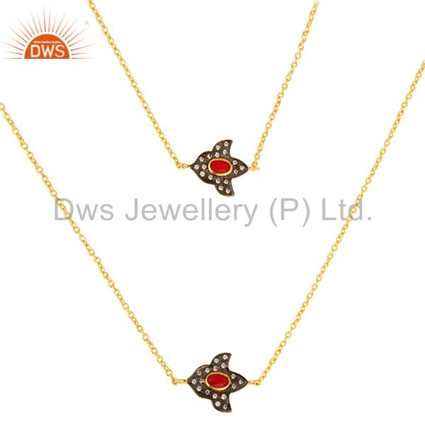 14K Yellow Gold Plated Red Aventurine And Cubic Zirconia Necklace