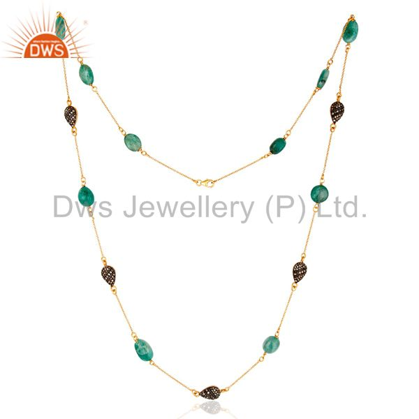 "22K Gold Plated Sterling Silver Natural Emerald & Diamond 30"" Chain Necklace"