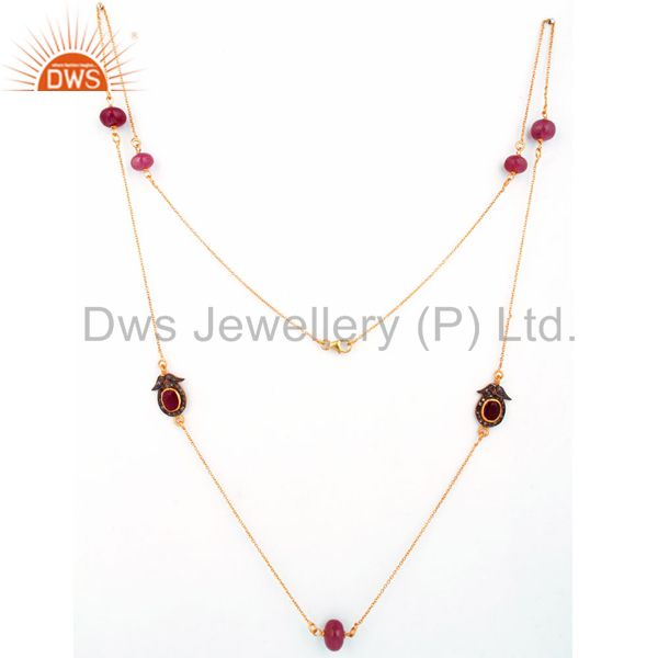 Natural Ruby Gemstone Beads 22K Gold Over Sterling Silver Chain Necklace Jewelry