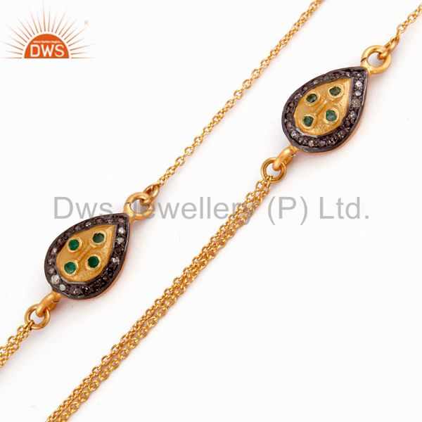18k Yellow Gold Plate Pave Diamond Sterling Silver Emerald Double Chain Necklace