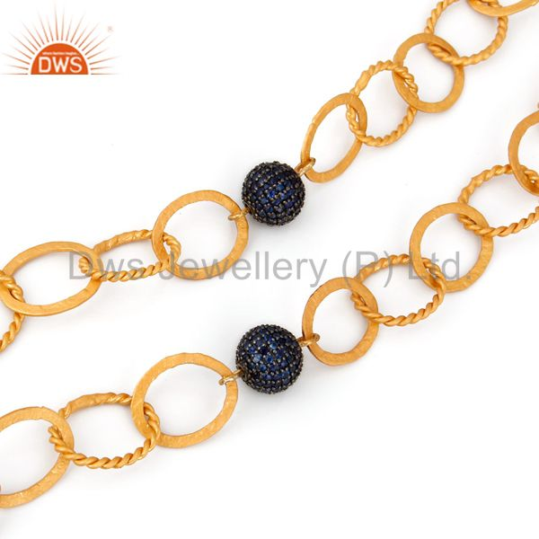 22K Gold Plated Sterling Silver Blue Sapphire Connector Bead Link Chain Necklace