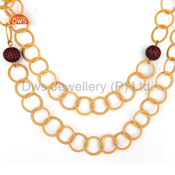 22k yellow gold plated sterling silver ruby hammered link chain necklace