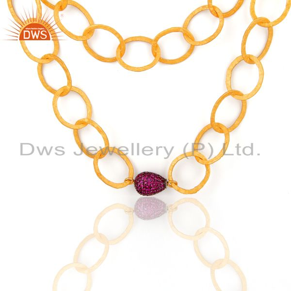 24k Gold Over Sterling Silver Double Chain Link Necklace With Pave Ruby Beads