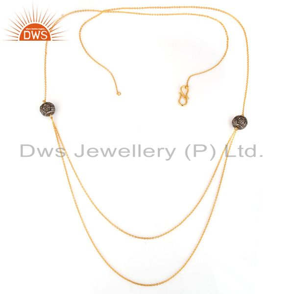 Gold Plated 925 Sterling Silver Pave Diamond Beads Layered Chain Necklace
