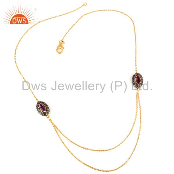 Pave diamond amethyst gold plated sterling silver double-layered chain necklace