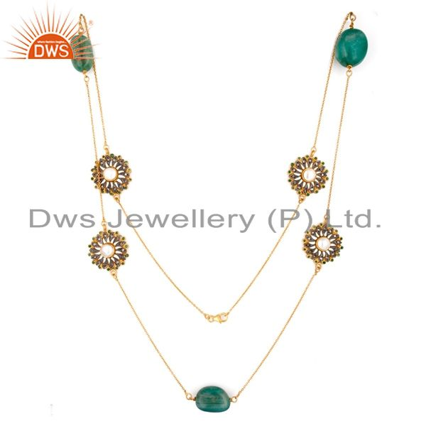 Natural Diamond Pave Emerald Gemstone 925 Sterling Silver Necklace - Gold Plated