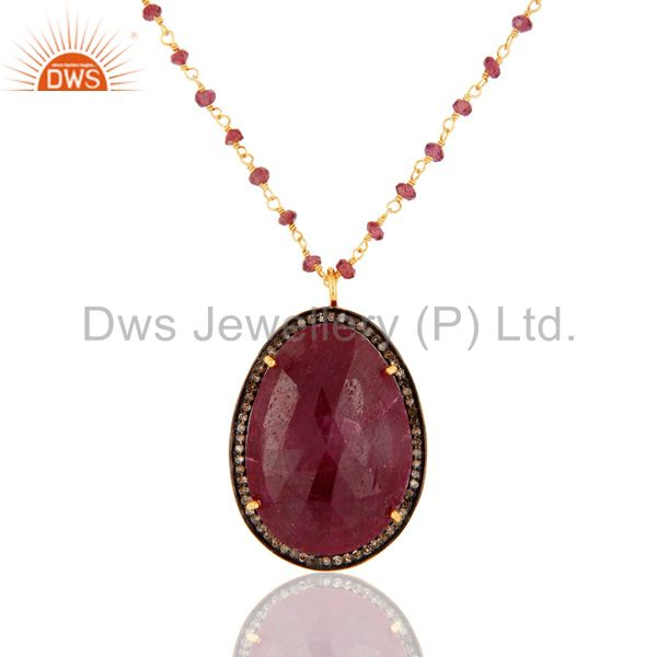 Pave Diamond Natural Ruby Gemstone Silver Pendant With Garnet Beaded Chain
