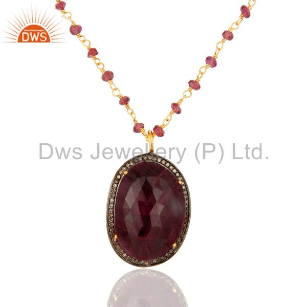 Natural Ruby 925 Sterling Silver Diamond Pave Pendant Necklace - 18K Gold Plated