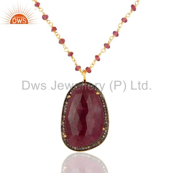 Natural Ruby Gemstone Sterling Silver Pave Diamond Pendant With Beaded Necklace