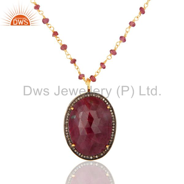 Natural Ruby And Pave Diamond Sterling Silver Pendant With Beaded Chain