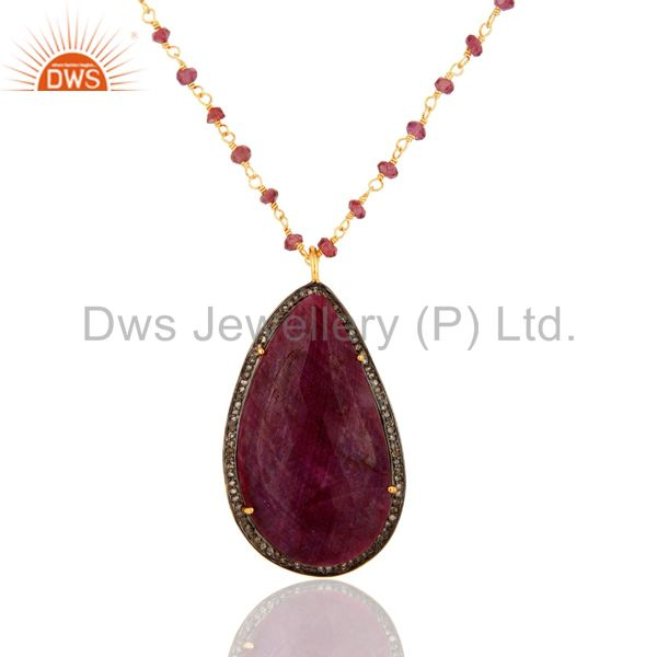Natural ruby gemstone slice pave diamond pendant with beaded chain necklace