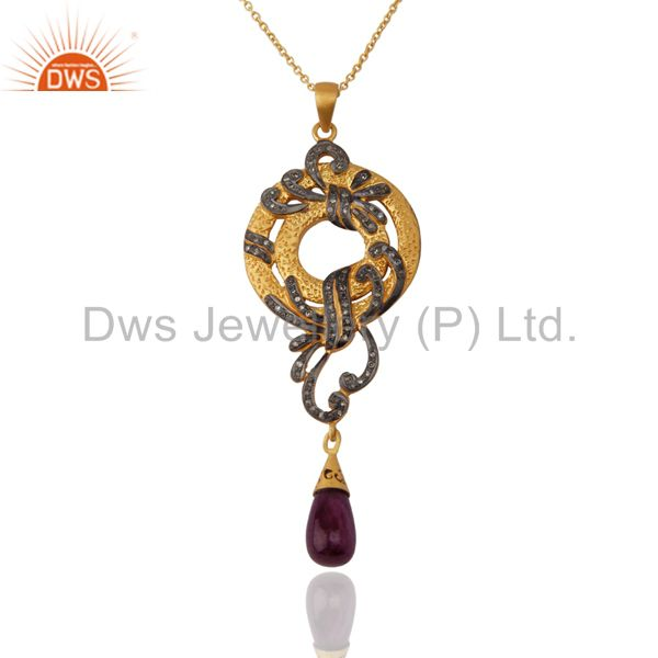 Pave Diamond Sterling Silver Real Ruby 18k Yellow Gold Plated Designer Pendant N