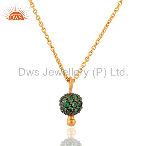 Natural Tsavorite Garnet Gemstone 18k Gold Over Sterling Silver Pendant Necklace