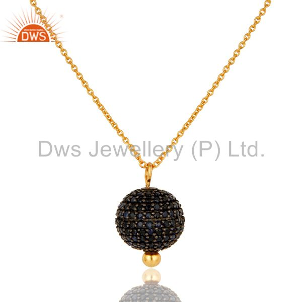 18k yellow gold plated sterling silver blue sapphire spheres pendant with chain