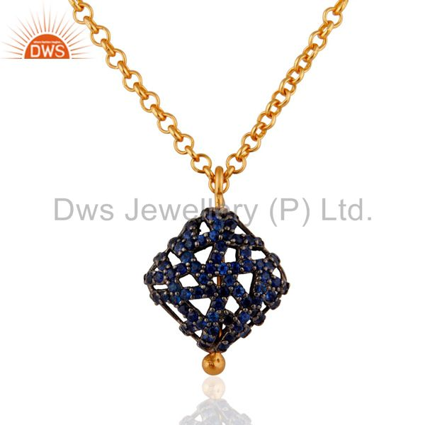 18K Yellow Gold Plated Sterling Silver Blue Sapphire Gemstone Pendant Necklace