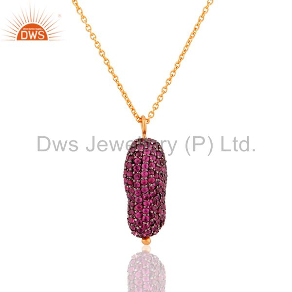 Natural Ruby Gemstone 925 Sterling Silver Pendant with 18k Gold Plated Chain 16""