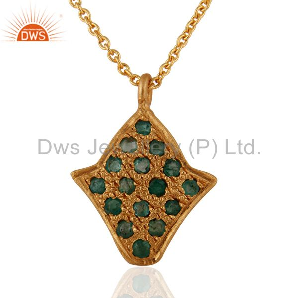 """22-Karat Yellow Gold Over Sterling Silver Emerald Pendnat With 16"""" Inch Chain"""