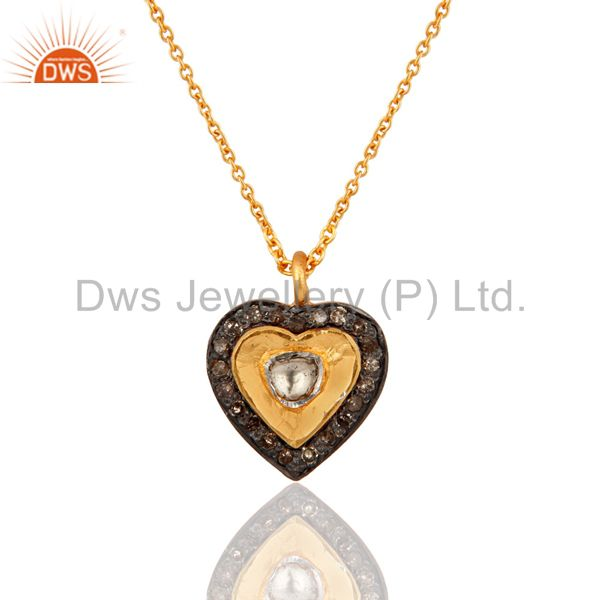 Real Diamond Accent 18k Gold Over Sterling Silver Heart Shaped Pendant Necklace