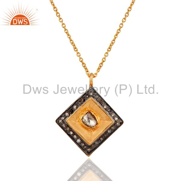 Sterling Silver 925 Rose Cut Gold Plated Bezel Designer Look Pendant Necklace