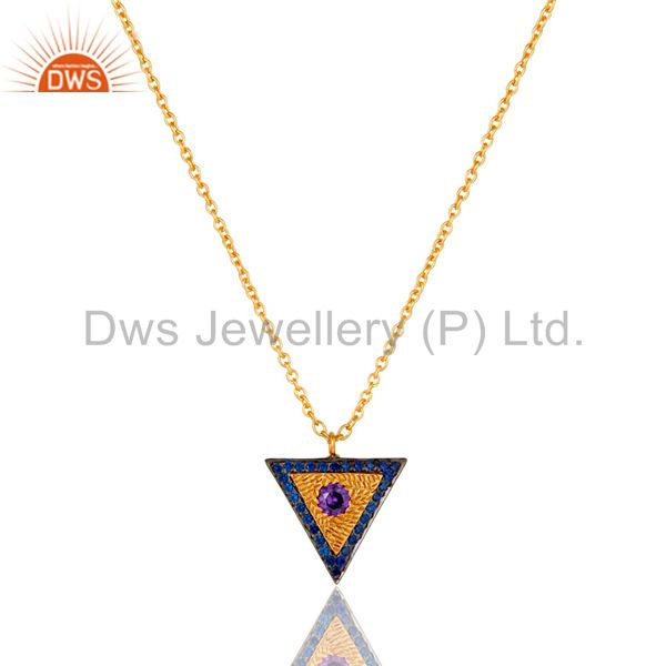 18k gold plated zircon blue sapphire bezel set designer look chain brass pendant