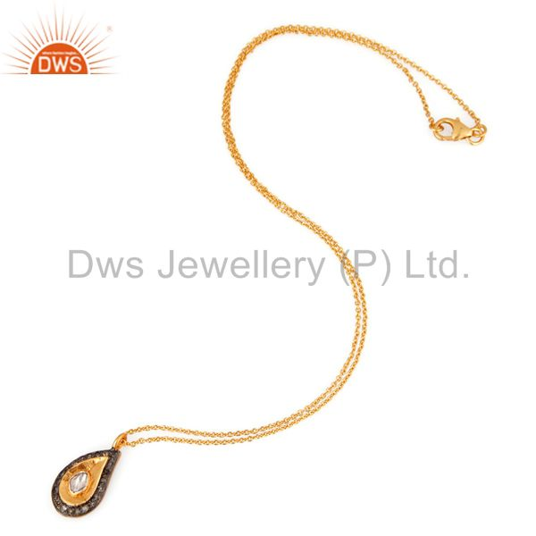 18k gold plated sterling silver rose cut diamond accent pendant necklace