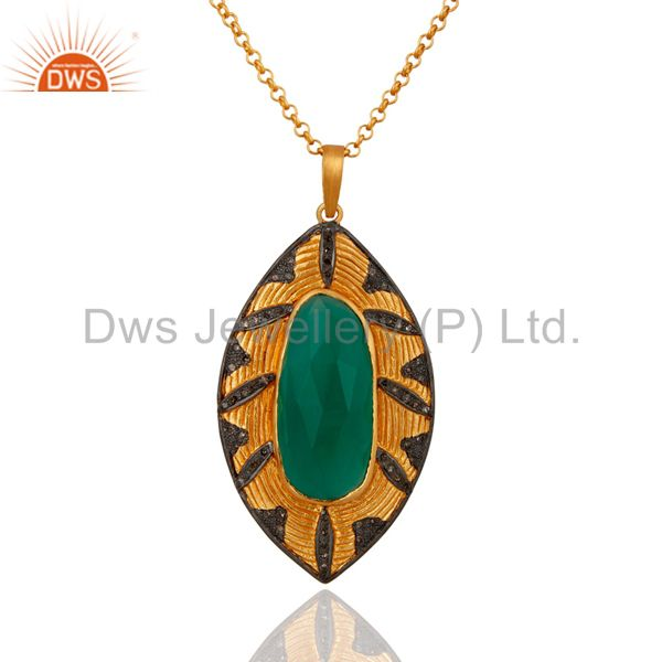 Handmade Pave Diamond Natural Green Onyx Gemstone Sterling Silver Pendant
