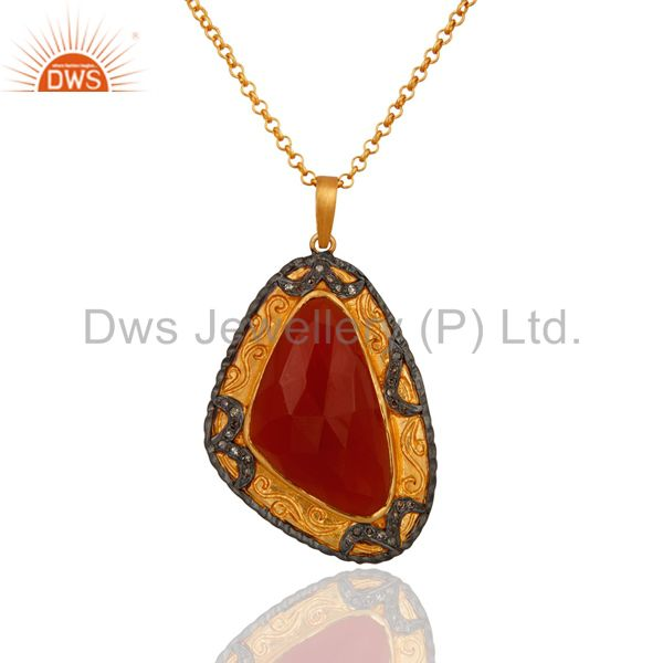 22k Gold Plated 925 Sterling Silver Diamond Carnelian Victorian Pendant Necklace